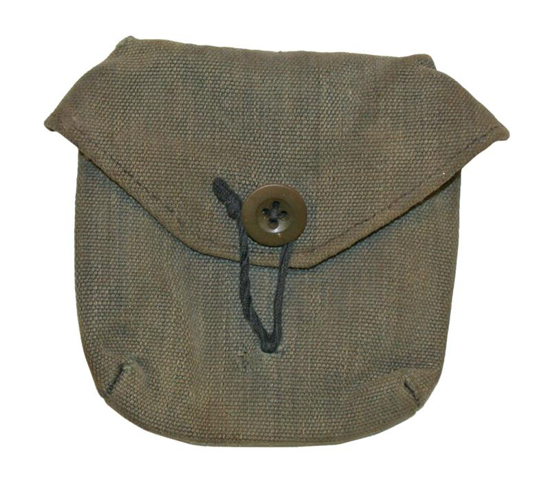 Pouch, Swiss Army, Used (Canvas Pouch w/ Belt Loop & Flap w/ Frog Closure)