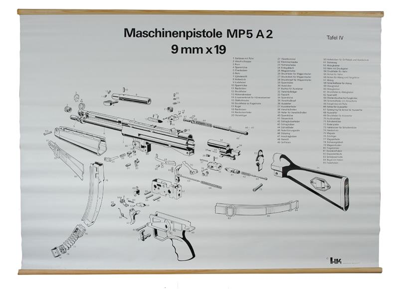 Exploded View Chart, MP5A2, German (B&W, 37