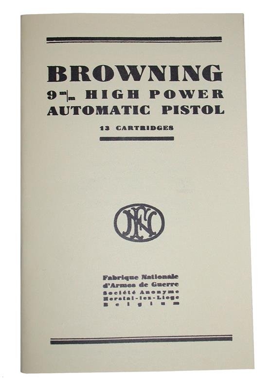 Browning 9mm High Power Automatic Pistol Manual