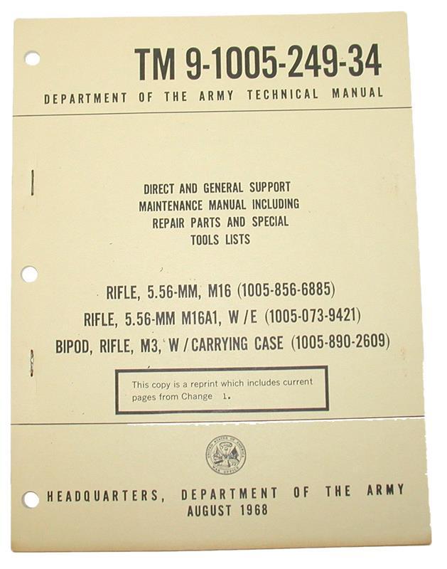 M16/M16A1 Training Manual (TM9-1005-249-34)