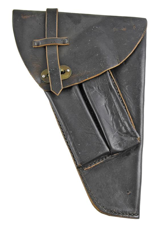Holster, Leather Flap, Black, Versatile, Used Poor To Fair Condition