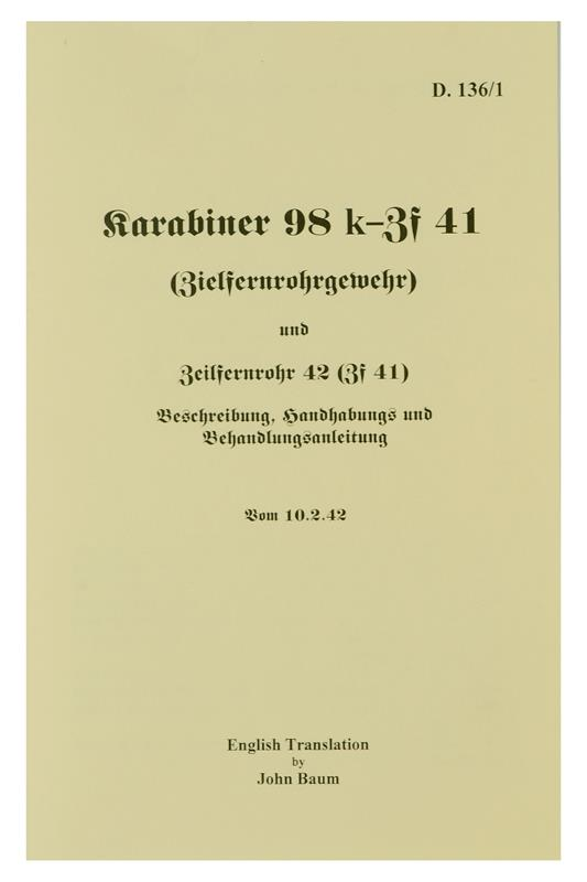 Manual, ZF-41 Scope, English Translation, Soft Cover, 16 Pages