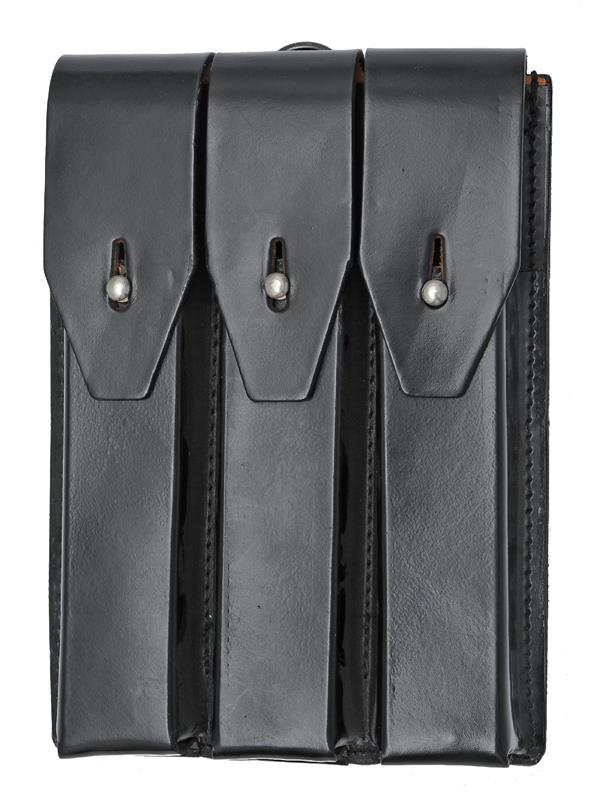 Pouch, Leather, 3 Pocket w/ Belt Loops & D-Ring, Holds 3 30 Rd 9mm Straight Mags