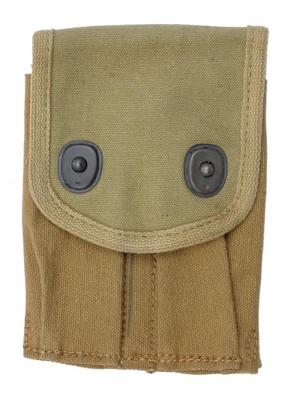 Magazine Pouch, 2 Pocket, Khaki Canvas, Original WWI, Dated 1918, New