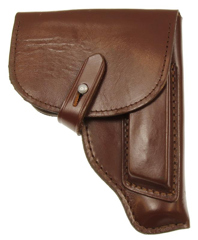 Holster, Flap, East German, Lighter Reddish Brown Leather, Used