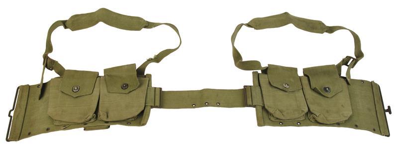 Magazine Belt Pouch, Four Pocket, OD Canvas, Original Belgian Surplus