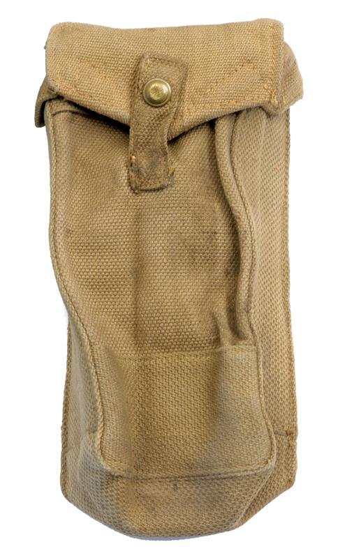 Magazine Pouch, Khaki Canvas, WWII Dated, Used VG to Exc Condition