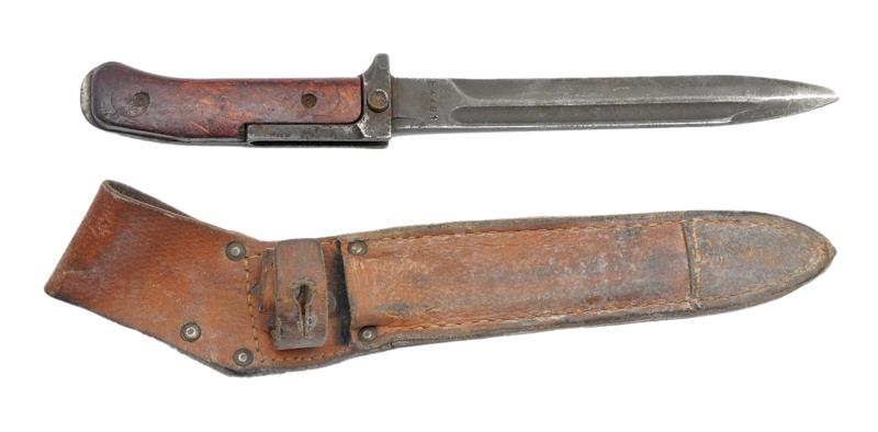 Bayonet w/ Leather Scabbard, Original, Used Good
