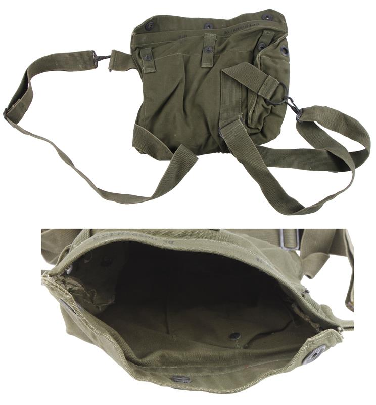 Gas Mask Carry Bag, M9A1, U.S. G.I., OD Canvas, Unissued