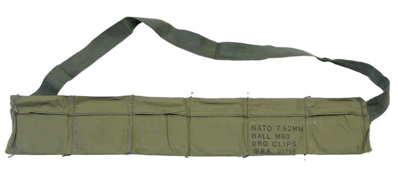 Bandoleer, Vietnam Era, 6-Pocket, OD Cloth, Mrkd NATO 7.62mm Ball M80 5 Rd Clips