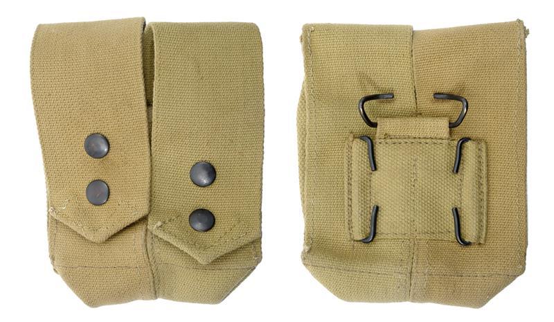 Dual Grenade Pouch, Khaki Canvas, Israeli Military, Unissued