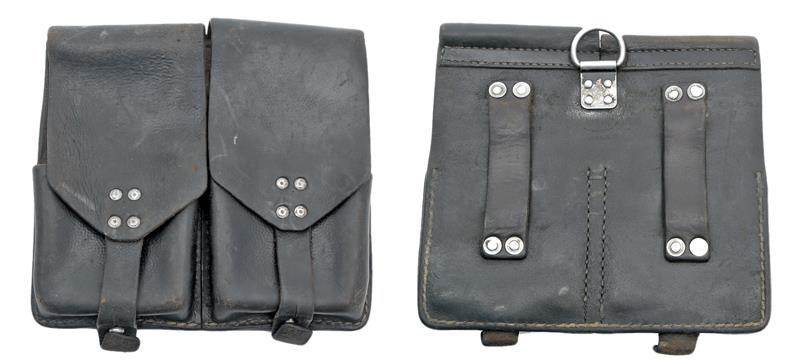 Magazine Pouch, 2-Pocket, Black Leather, Austrian Army Issue, Used Good