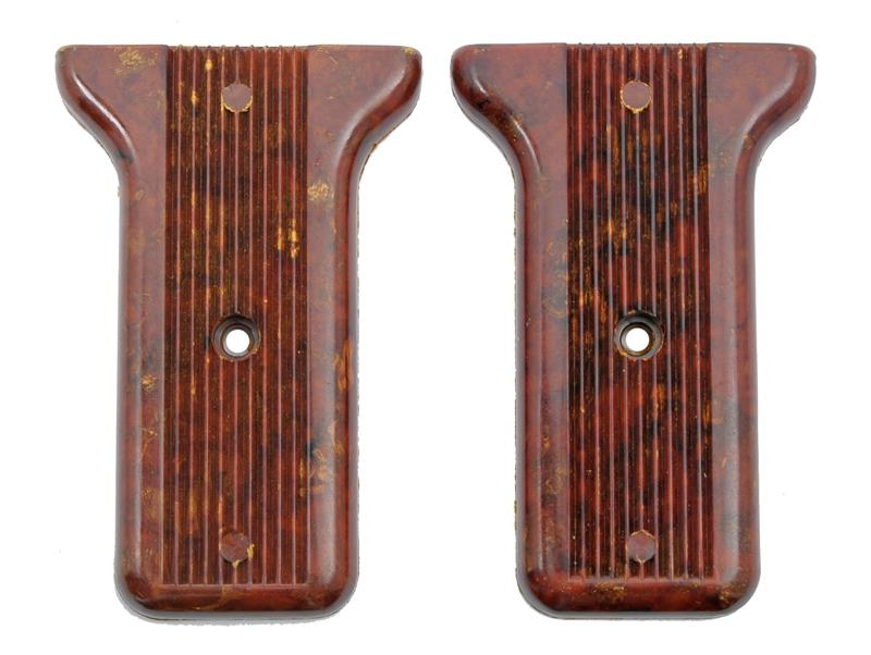 Rear Grip Panels, Brown Plastic, Pair, Unissued (Attaching Screws Not Included)