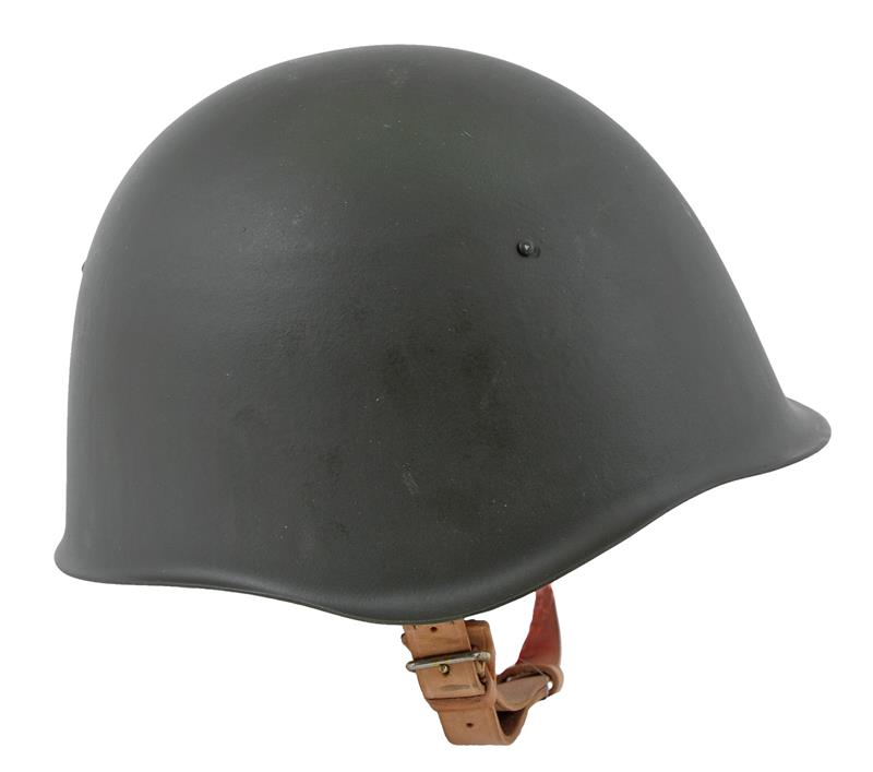 Bulgarian M51 Helmet, Post WWII OD Steel w/ Adjustable Tan Leather Suspension