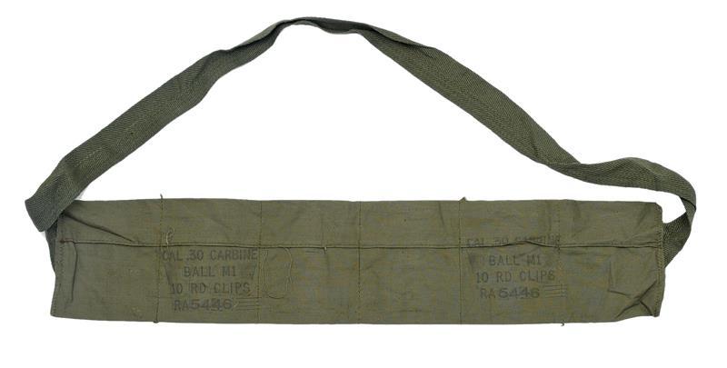 Bandoleer, GI, Cotton, 6-Pocket, Mrkd Cal .30 Carbine Ball M1 10 Rd. Clips