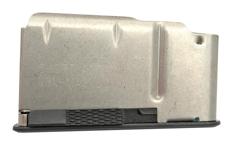 Magazine, Short Action, 4 Round, Stainless, New (Engraved Floorplate; Factory)