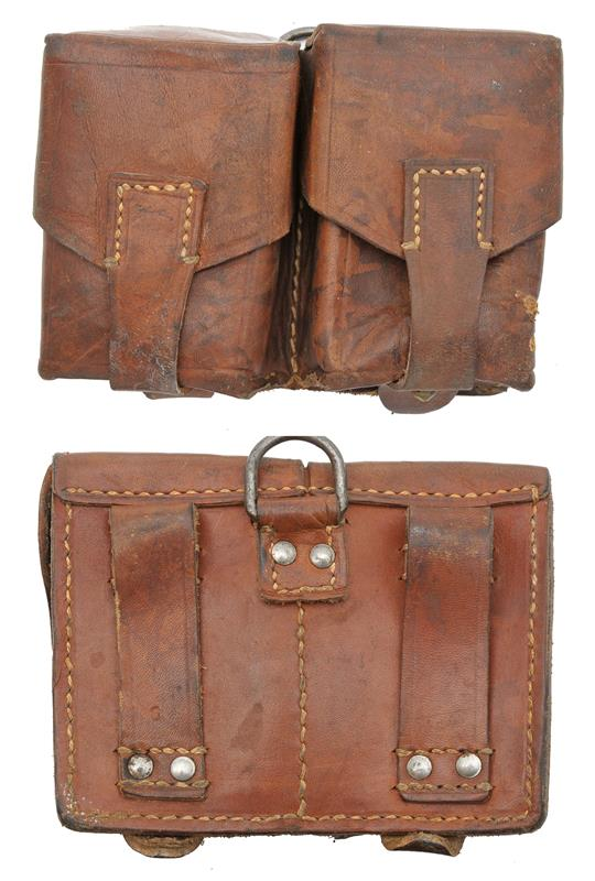 Ammo Pouch, 2 Pocket, Leather, Yugoslavian Issue, Used Good to VG
