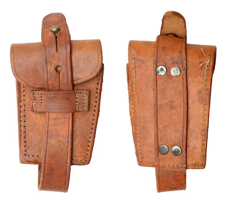 Ammo Pouch w/o Ring, Single Pocket, Brown Leather, Original, WWI Era