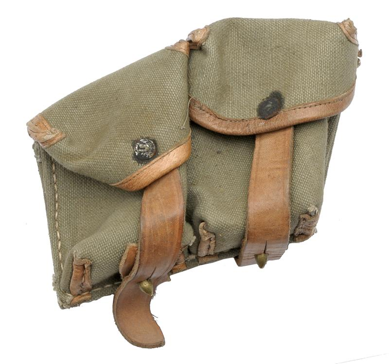 Ammo Pouch w/ Leather Border, 2 Pocket, Canvas, Original, Used VG to Exc