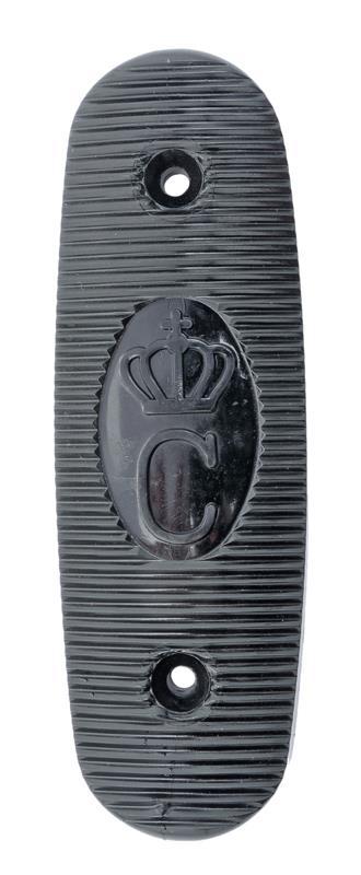 Buttplate, Black Plastic, New Original (w/ Swedish Crown & Serrated Pattern)
