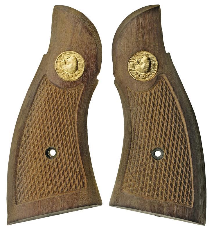 Grips, Service, Checkered Hardwood w/ Spesco Falcon Medallion