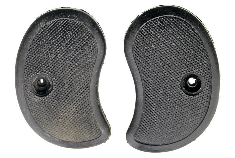 Grips, Checkered Black Plastic, Used Factory Original