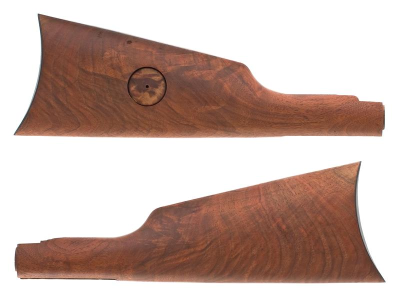 Stock w/ Crescent Buttplate & Medallion Cut, Refinished, Walnut, Plain, G to VG