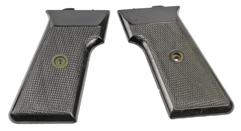 Grips, Original, Circa 1960, Black Checkered Plastic, Used