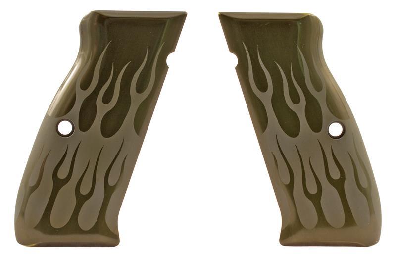 Grips, Green, Aluminium, Flame Pattern, New Factory Original