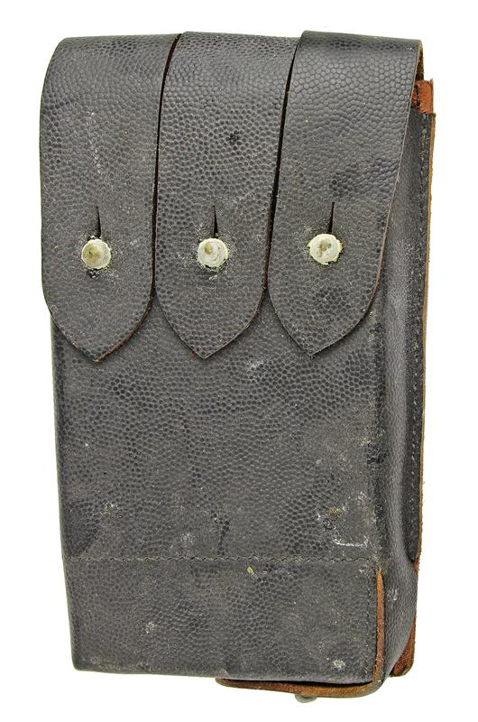 Magazine Pouch, 4 Pocket for 9mm 20 Round, Black Leather