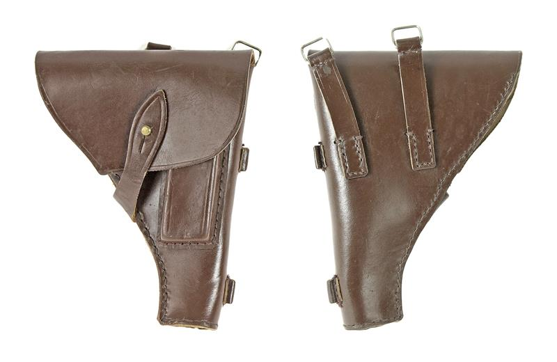Holster, Fold Over Top Flap w/ Round Stud, Brown Leather, Used Original
