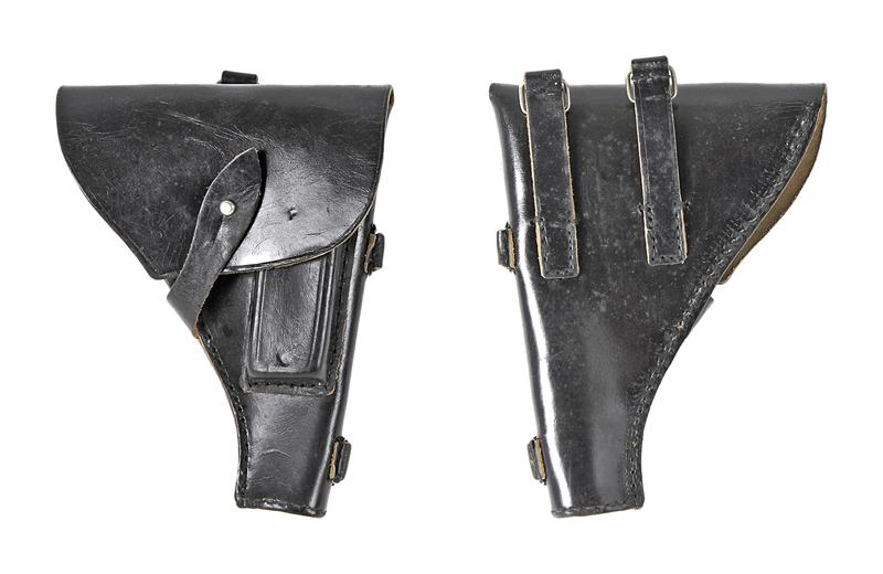 Holster, Fold Over Top Flap w/ Round Stud, Black Leather, Used Original