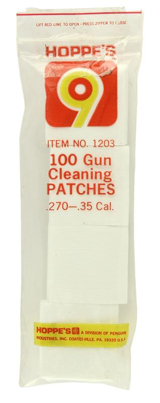Cleaning Patches, Hoppes, .270-.35 Cal., Pack of 100