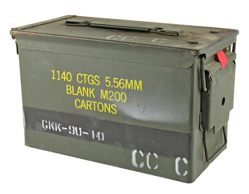 Ammo Can, .50 Cal - OD Steel w/ Hinged Lid & Markings, Good Cond