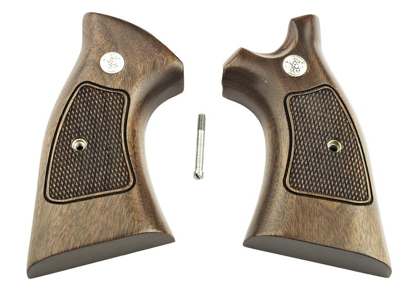 Grips, Target, Square Butt, Checkered Walnut w/Speedloader Cut, New Reproduction