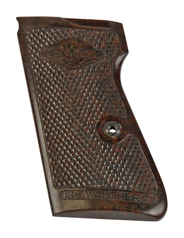 Grip Panel, Left, Manurhin, Brown Bakelite, Used (w/ Threaded Escutcheon)