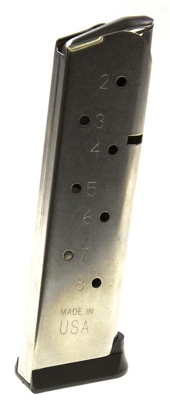Magazine, .45 Cal., 8 Round, Stainless, New (w/ Removable Base; Factory)