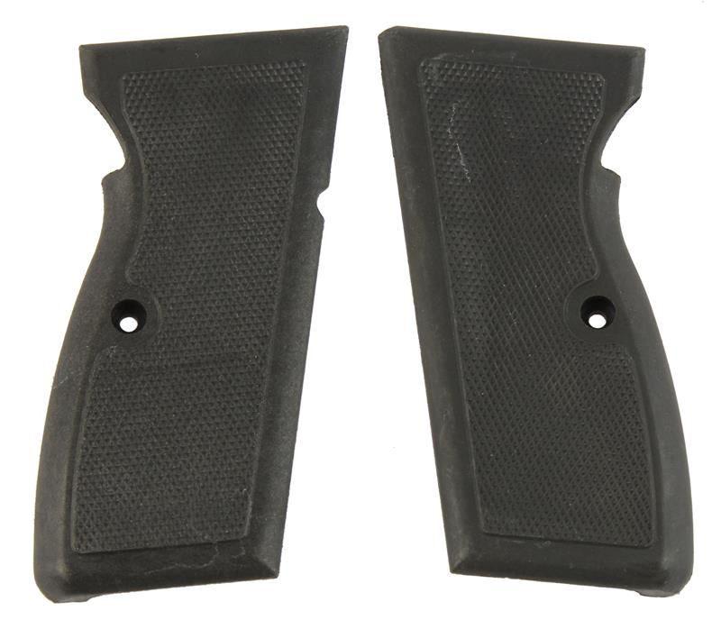 Grips, Checkered Black Plastic, New Factory Original