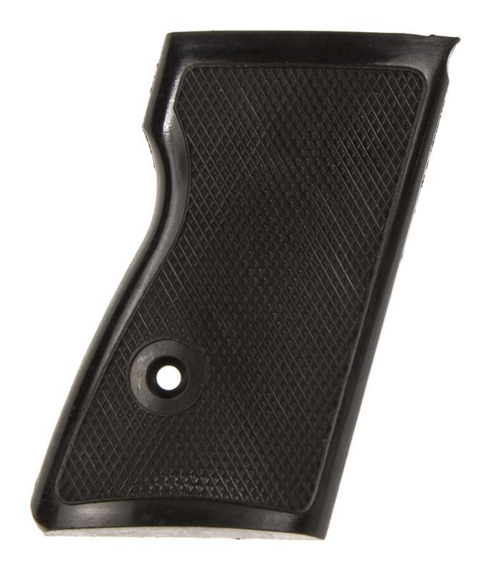 Grip, Right, Black Checkered Plastic w/o Escutcheons, New Factory Original
