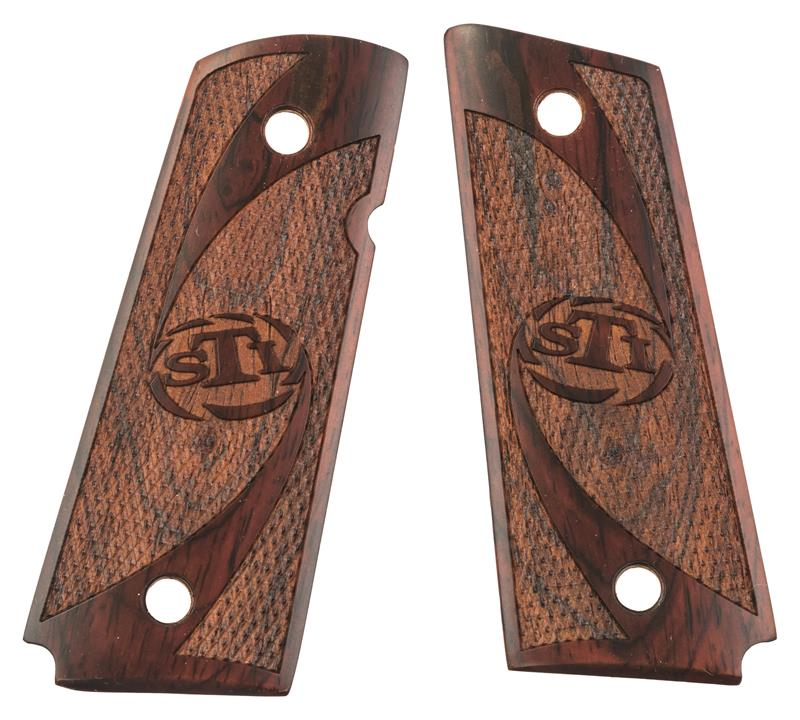 Grips, Officer's Size, Thin Wall Style, Checkered Rosewood, New Factory