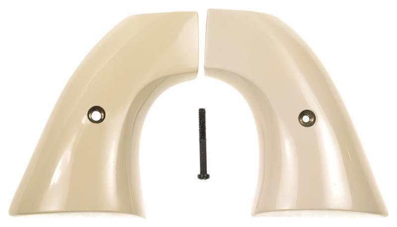 Grips, Simulated Plain Ivory w/Screw & Escutcheon, New Factory Original