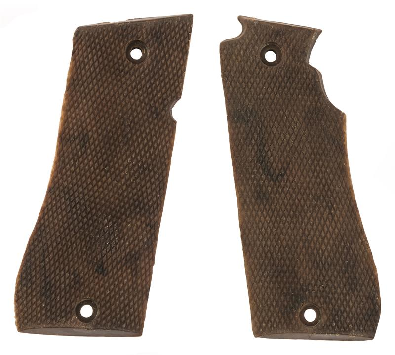 Grips, Brown Checkered Plastic, New Factory Original
