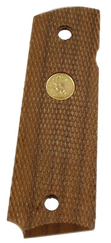 Grip Panel, RH, Full Checkered Walnut w/ Gold Medallion, Used Factory Original