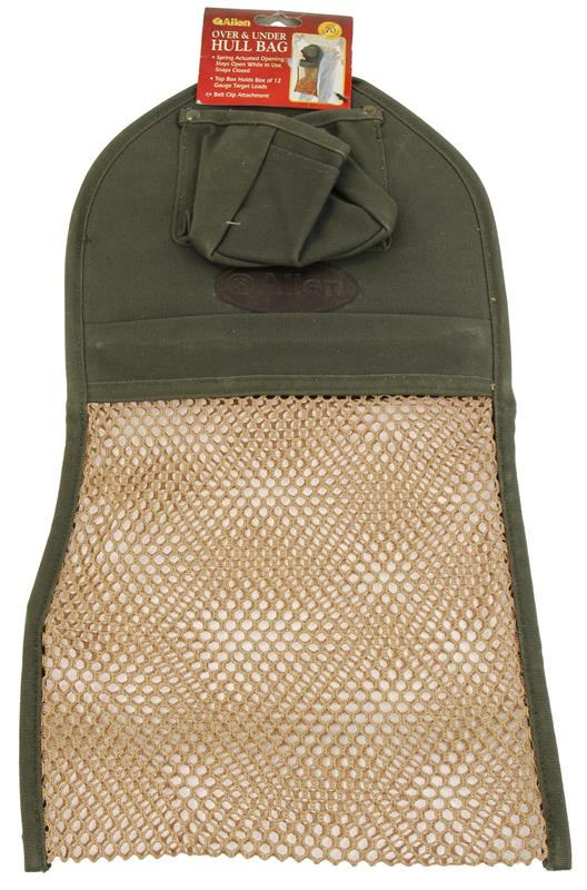 Hull Bag, O/U, Belt Clip Attachment, Green w/Brown Mesh, New Allen