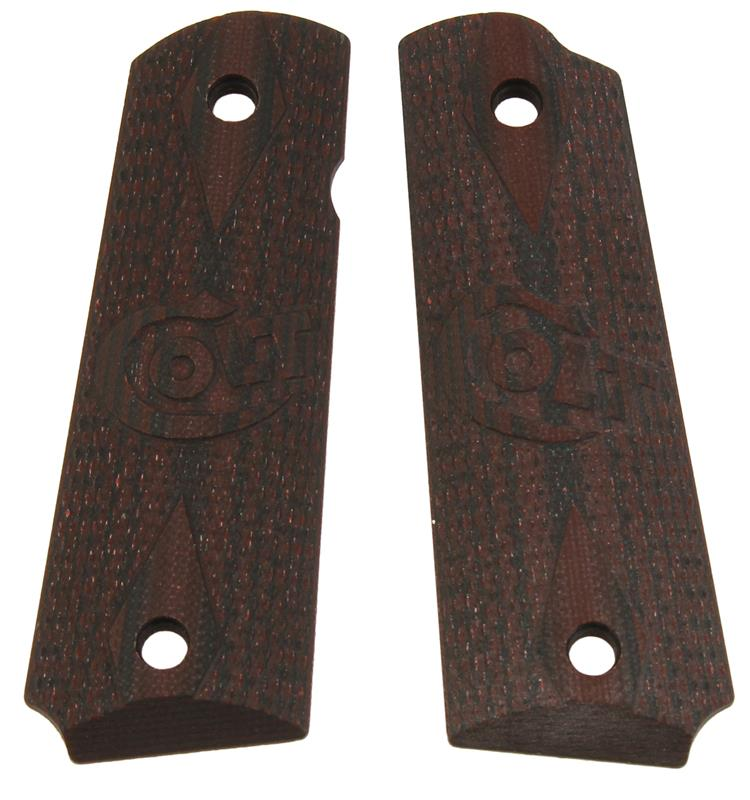 Grips, Full Size VZ, Brown Checkered w/ Embossed Colt Emblem, New Reproduction