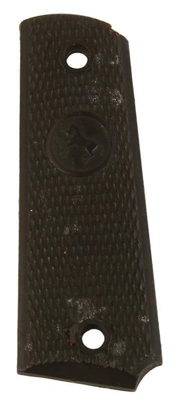 Grip Panel, LH, Brown Plastic W/Rampant Horse Logo, Used Factory