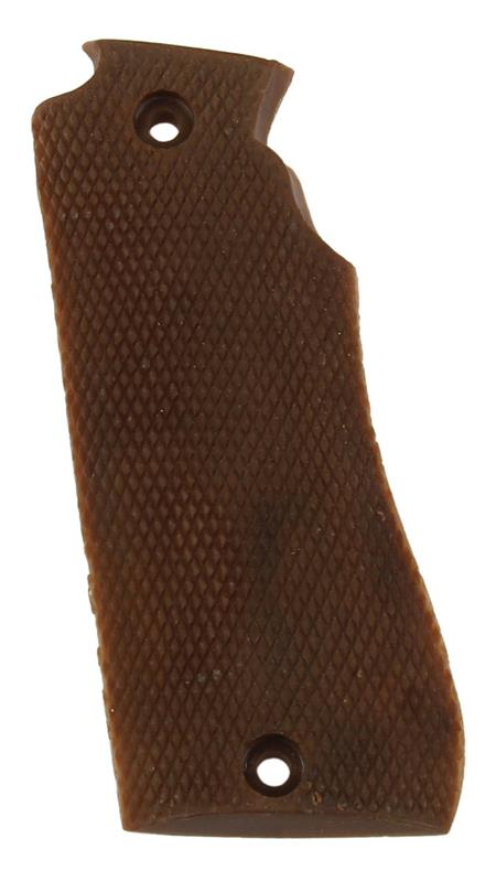 Grip, Left, Brown Checkered Plastic, Used Factory Original