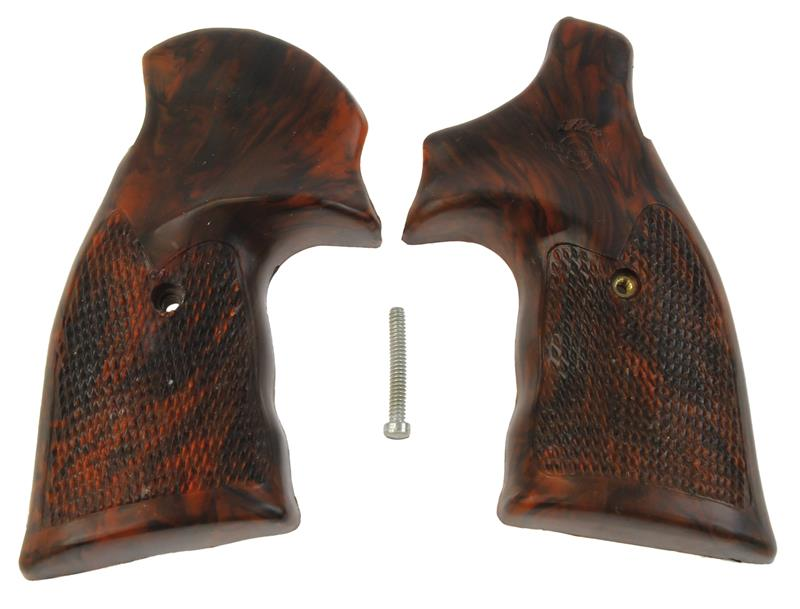 Grips, Square Butt, Target, Checkered Simulated Rosewood, New Fitz Mfg.
