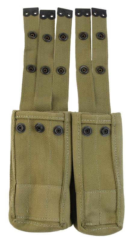 Magazine Belt Pouch, 5 Pocket, Double Snap Closure, Canvas, Used Israeli Mfg