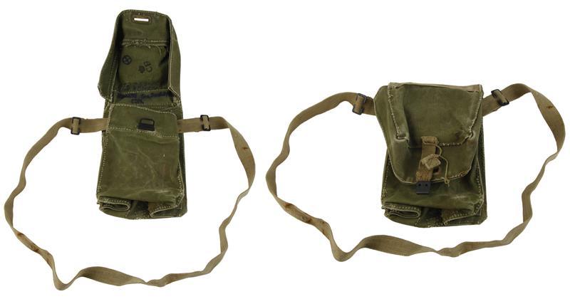 Gas Mask Carry Bag, Danish MKII, Canvas, Used (w/ Shoulder Strap & Side Pockets)